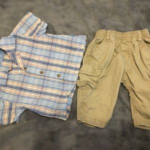 Other - tan, blue, and orange plaid shirt with tan cargos